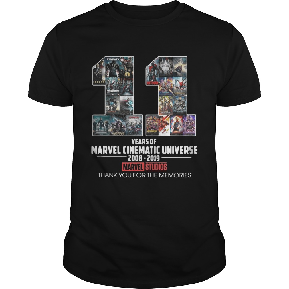 11 Years Of Marvel Cinematic Universe 2008 2019 Marvel Studios Thank You Unisex