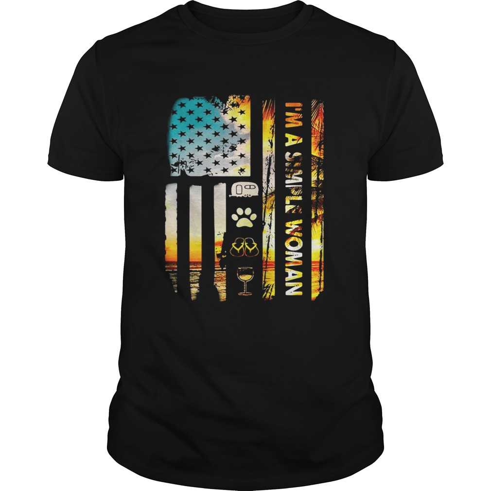 American Flag Im A Simple Woman I Love Camping Dog Flip Flop And Wine Unisex