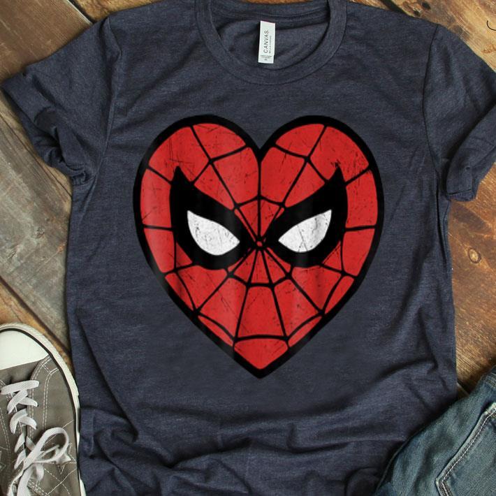 Marvel Spiderman Face Mask Valentine039S Heart Logo Shirt